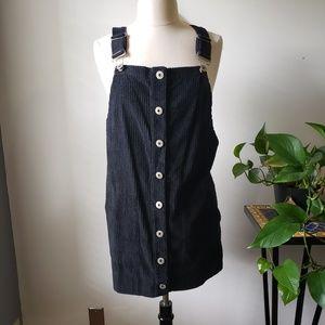 NWT POL CLOTHING BLACK CORDUROY OVERALL SKIRT M